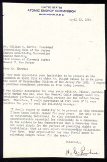 ADMIRAL HYMAN G. RICKOVER - TYPED LETTER SIGNED 04/12/1962