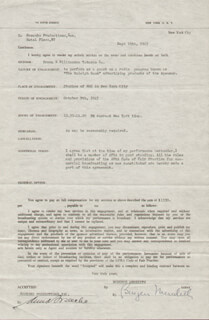 BURGESS MEREDITH - CONTRACT SIGNED 09/19/1945 CO-SIGNED BY: ANNA SOSENKO