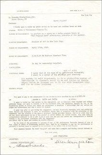 ANNA SOSENKO - CONTRACT SIGNED 03/27/1946 CO-SIGNED BY: ALEC TEMPLETON
