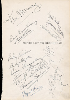 EDGAR KENNEDY - AUTOGRAPH 1945 CO-SIGNED BY: NIGEL BRUCE, GEORGE MURPHY, HENRY O'NEILL, WILLIAM FRAWLEY, RUBY KEELER, BOB STEELE, ANDY CLYDE, HOWARD HILL, HARRY VON ZELL, TRUMAN BRADLEY, HUNTLEY GORDON, GEORGE GABBY HAYES, JACK CARSON, CHARLES D. COBURN, JIMMY DORSEY, LEO B. GORCEY, CHARLES BUDDY ROGERS, ROBERT ARMSTRONG, JAMES JIMMIE FIDLER, RALPH MORGAN, KEN MURRAY