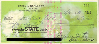 THE RITZ BROTHERS (HARRY RITZ) - AUTOGRAPHED SIGNED CHECK 07/04/1976