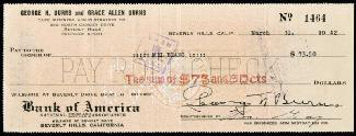 GEORGE BURNS - AUTOGRAPHED SIGNED CHECK 03/31/1942 CO-SIGNED BY: MEL BLANC