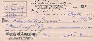 GRACIE ALLEN - CHECK SIGNED & ENDORSED 05/18/1943 CO-SIGNED BY: ELIZABETH PARSONS