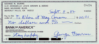 GEORGE BURNS - AUTOGRAPHED SIGNED CHECK 09/08/1982