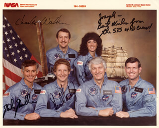 JUDITH A. JUDY RESNIK - AUTOGRAPHED INSCRIBED PHOTOGRAPH 08/30/1984 CO-SIGNED BY: STEVEN A. HAWLEY, CHARLES D. WALKER, COLONEL RICHARD MIKE MULLANE, CAPTAIN MICHAEL L. COATS