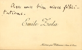 EMILE ZOLA - AUTOGRAPH SENTIMENT ON CALLING CARD UNSIGNED