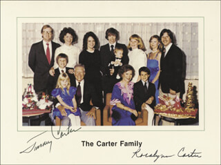 Autographs: PRESIDENT JAMES E. JIMMY CARTER - CHRISTMAS / HOLIDAY CARD SIGNED CO-SIGNED BY: FIRST LADY ROSALYNN CARTER