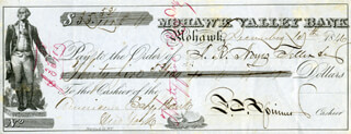 FRANCIS E. SPINNER - AUTOGRAPHED SIGNED CHECK 12/10/1846