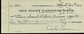 GOVERNOR CHARLES EDISON - AUTOGRAPHED SIGNED CHECK 03/30/1917