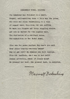 MAXWELL BODENHEIM - POEM SIGNED