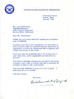 Autographs: REAR ADMIRAL RICHARD E. BYRD - TYPED LETTER SIGNED 07/25/1955