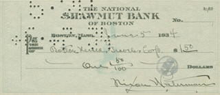 NIXON WATERMAN - AUTOGRAPHED SIGNED CHECK 06/05/1934
