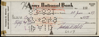 GENERAL THOMAS D. WHITE - AUTOGRAPHED SIGNED CHECK 06/29/1949
