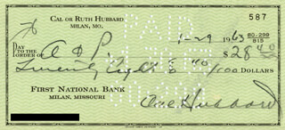 CAL (ROBERT) HUBBARD - AUTOGRAPHED SIGNED CHECK 01/29/1963