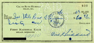 CAL (ROBERT) HUBBARD - AUTOGRAPHED SIGNED CHECK 03/06/1963