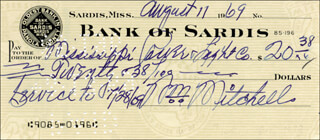 WILLIE MITCHELL - AUTOGRAPHED SIGNED CHECK 08/11/1969