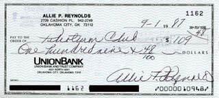 ALLIE REYNOLDS - AUTOGRAPHED SIGNED CHECK 09/01/1987