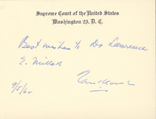 Autographs: ASSOCIATE JUSTICE TOM C. CLARK - AUTOGRAPH NOTE ON SUPREME COURT CARD SIGNED 09/05/1962