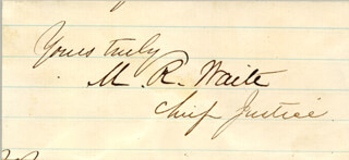 CHIEF JUSTICE MORRISON R. WAITE - AUTOGRAPH SENTIMENT SIGNED