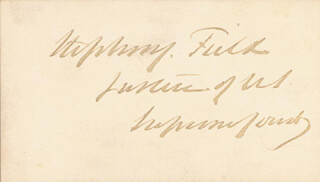 ASSOCIATE JUSTICE STEPHEN J. FIELD - CALLING CARD SIGNED