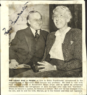 ASSOCIATE JUSTICE FELIX FRANKFURTER - NEWSPAPER PHOTOGRAPH SIGNED