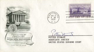 ASSOCIATE JUSTICE POTTER STEWART - FIRST DAY COVER SIGNED