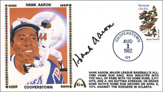 Autographs: HANK AARON - COMMEMORATIVE ENVELOPE SIGNED