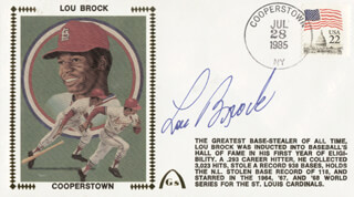 LOU BROCK - COMMEMORATIVE COVER SIGNED