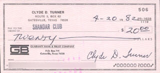 CLYDE BULLDOG TURNER - AUTOGRAPHED SIGNED CHECK 04/20/1982