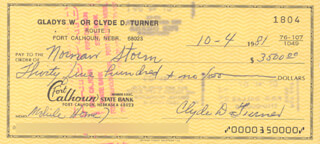 CLYDE BULLDOG TURNER - AUTOGRAPHED SIGNED CHECK 10/04/1981