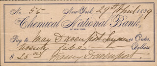 FANNY DAVENPORT - AUTOGRAPHED SIGNED CHECK 04/29/1889 CO-SIGNED BY: MAY DAVENPORT SEYMOUR
