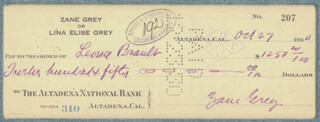 ZANE GREY - AUTOGRAPHED SIGNED CHECK 10/27/1930