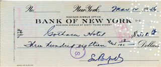 LOUIS BROMFIELD - AUTOGRAPHED SIGNED CHECK 03/12/1946
