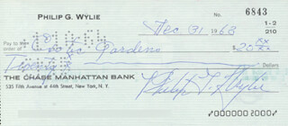 PHILIP GORDON WYLIE - AUTOGRAPHED SIGNED CHECK 12/31/1963