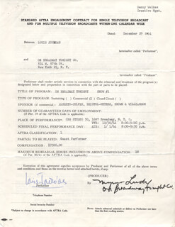 LOUIS JOURDAN - DOCUMENT SIGNED 12/29/1964