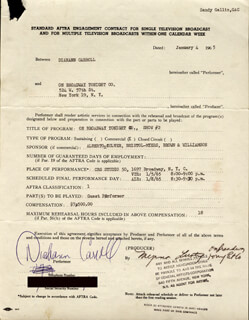 DIAHANN CARROLL - DOCUMENT SIGNED 01/04/1965