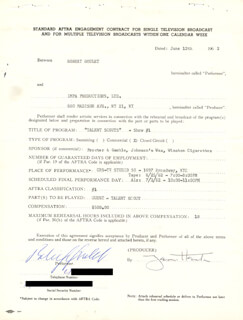 ROBERT GOULET - CONTRACT SIGNED 06/12/1962