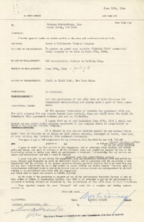 MORTON DOWNEY SR. - CONTRACT SIGNED 06/13/1944 CO-SIGNED BY: ANNA SOSENKO