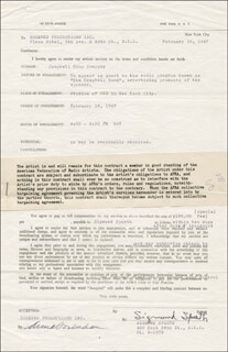 SIGMUND SPAETH - CONTRACT SIGNED 02/10/1947 CO-SIGNED BY: ANNA SOSENKO