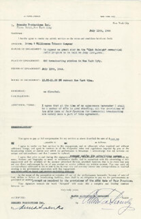 ALEXANDER DE SEVERSKY - CONTRACT SIGNED 07/11/1944 CO-SIGNED BY: ANNA SOSENKO