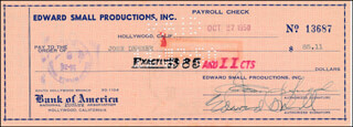 EDWARD SMALL - CHECK DOUBLE SIGNED 10/27/1950 CO-SIGNED BY: JOHN DEHNER