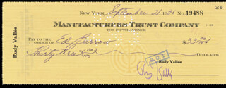 RUDY VALLEE - AUTOGRAPHED SIGNED CHECK 09/21/1936
