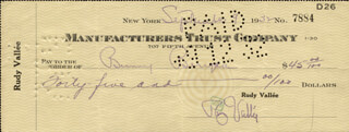 RUDY VALLEE - AUTOGRAPHED SIGNED CHECK 09/09/1932 CO-SIGNED BY: ROWLAND BERNART BUNNY BERIGAN