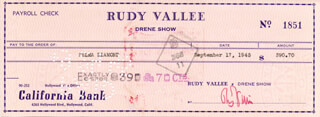 RUDY VALLEE - AUTOGRAPHED SIGNED CHECK 09/17/1945 CO-SIGNED BY: SELMA DIAMOND
