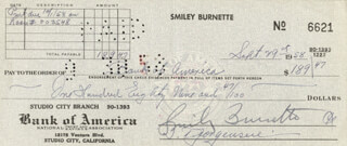 SMILEY (LESTER) BURNETTE - AUTOGRAPHED SIGNED CHECK 09/29/1958  - HFSID 83373