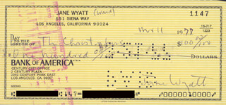 JANE WYATT - AUTOGRAPHED SIGNED CHECK 03/11/1977