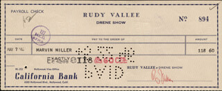 RUDY VALLEE - AUTOGRAPHED SIGNED CHECK 05/07/1946 CO-SIGNED BY: MARVIN MILLER
