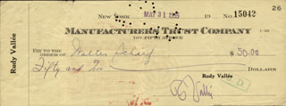 RUDY VALLEE - AUTOGRAPHED SIGNED CHECK 05/31/1935 CO-SIGNED BY: WALTER SCHARF