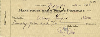 RUDY VALLEE - AUTOGRAPHED SIGNED CHECK 05/24/1933 CO-SIGNED BY: ALICE FAYE