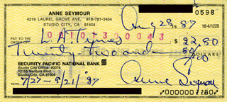 ANNE SEYMOUR - AUTOGRAPHED SIGNED CHECK 08/28/1987
